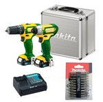Kit Parafusadeira de Impacto TD110DBR+ HP331DBR+CLX202BR+ 10 Bits- D34366-Makita