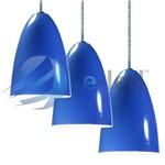 Kit 3 Pendentes Cone de Aluminio com Soquete E-27 Azul