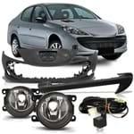 Kit Peugeot 207 2008 2009 2010 2011 2012 Para-choque Dianteiro + Almofada Moldura do Para-choque + Kit Farol de Milha Auxiliar Botão Universal