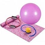 Kit Pilates 4 Pecas Cor Rosa ( Bola 65cm Tapete Bomba Anel Resistencia)
