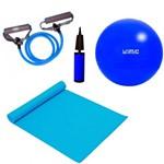 Kit Pilates com Bola 65 Cm + Bomba + Colchonete + Extensor Forte Mandiali