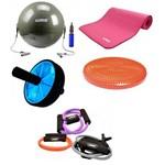 Kit Pilates Yoga Fisioterapia Bola Suica + Disco + Roda + Extensores Liveup