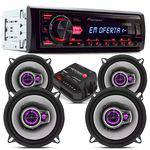 Kit Pioneer + 04 Auto Falante 5 + Radio Mp3 Usb Mvh98ub + Mó