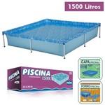 Kit Piscina Infantil 1500 Litros + Capa + Forro Retangular Estruturada - Mor