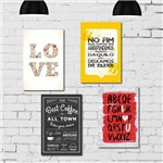 Kit Placa Decorativa MDF Frases 4 Unidades