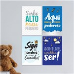 Kit Placa Decorativa MDF Frases Infantis 4un