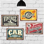 Kit Placa Decorativa MDF Garagem Vintage
