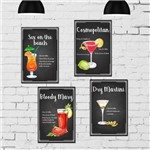 Kit Placa Decorativa MDF Receitas Drinks com Vodka 4un 30x40