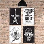 Kit Placa Decorativa MDF Rock e Musica 4 Unidades