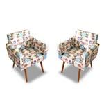 Kit 2 Poltronas Cadeiras Decorativa Beatriz Recepção Sala de Jogos Quarto Estampa Gatinho Cats - AM DECOR