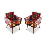 Kit 2 Poltronas Cadeiras Decorativa Beatriz Recepção Sala de Estar Escritório Estampa Romero Brito - AM DECOR