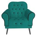 Poltrona Cadeira Olivia para Sala Escritório Recepção Suede Azul Turquesa - AM DECOR