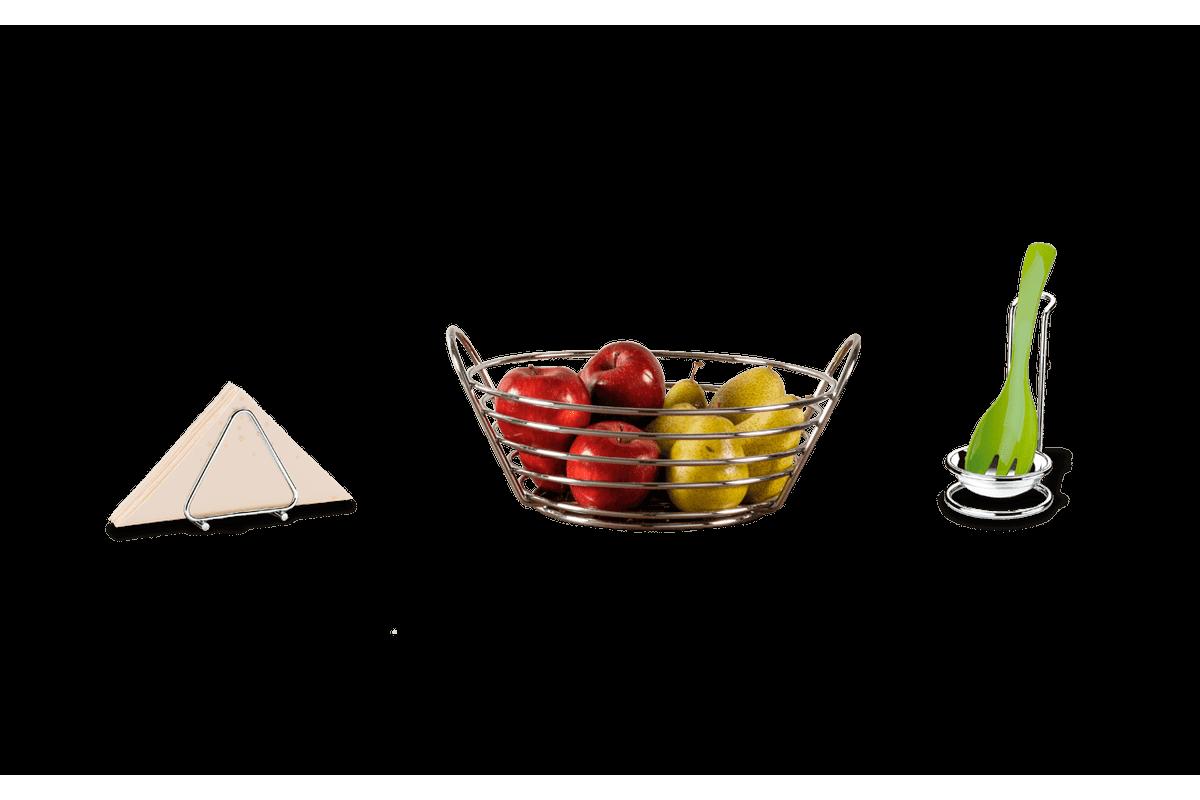 Kit Porta Guardanapos + Fruteira + Apoio para Utensílios