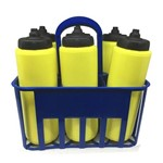 Kit Porta Squeeze Azul com 6 Squeeze S/ Logo Amarelo/Preto Rythmoon