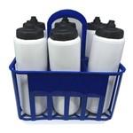 Kit Porta Squeeze Azul com 6 Squeeze S/ Logo Branco/Preto Rythmoon