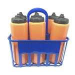 Kit Porta Squeeze Azul com 6 Squeeze S/ Logo Laranja/Preto Rythmoon
