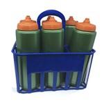 Kit Porta Squeeze Azul com 6 Squeeze S/ Logo Verde/Laranja Rythmoon