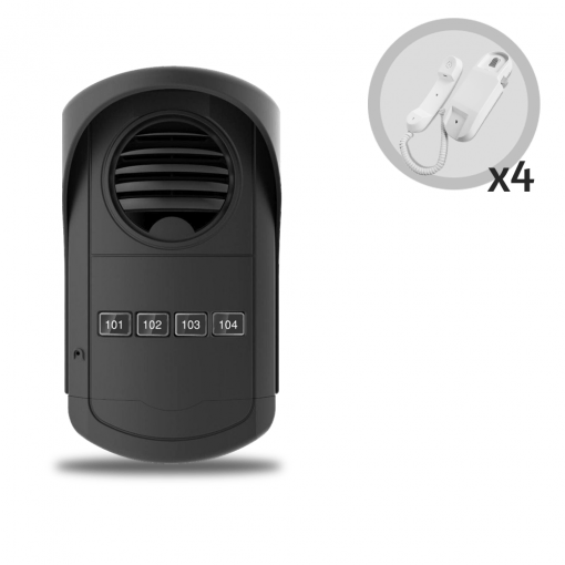 Kit Porteiro Eletrônico Coletivo 4 Pontos e 4 Monofones AGL