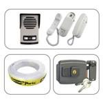 Kit Porteiro Eletrônico Interfone 2 Pontos AGL com Fechadura e Cabo