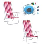 Kit Praia Verão 2 Cadeiras 4 Posições Aço - Mor + 1 Caixa de Som Bluetooth a Prova D'agua