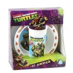 Kit Pratos Flat Bowl e Copo Tartaruga Ninjas - 01584 - Baby Go