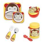 Kit Pratos Talheres Potinho Snacks e Pote Termico Zoo Skip Hop Macaco