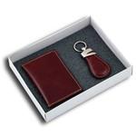 Kit Presente com Porta Cartões e Chaveiro em Couro Legítimo Vinho