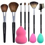 Kit Profissional Maquiagem 7 Pinceis + 3 Esponjas Tipo Gota 3D Anatomicas Marco Boni