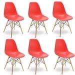 Kit Promocional 06 Cadeiras Eames DSW Vermelha Vermelha