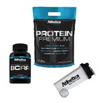 Kit Protein Premium 1,8kg (Morango) + Bcaa 60 Caps + Shaker