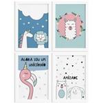 Kit Quadros Decorativos Animais Amigos 4un Mold Branca 22x32cm