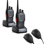Kit Rádio Comunicador Bf-888S Walkie Talkie + Microfones Ptt
