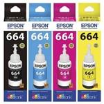 Kit Refil Tintas Epson 664 Preto, Cyano, Yellow, Magenta L200 L396 L110 L355 L555 L455 L365 L220 L39