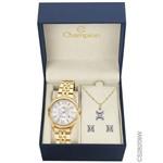 Kit Relógio Champion Dourado Cs28209w + Brincos e Colar