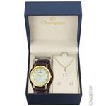 Kit Relógio Champion Feminino com Pulseira de Couro Cn20275w + Brincos e Colar