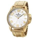 Kit Relógio Champion Feminino Dourado Social 5 Atm Cn27821w