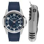 Kit Relogio Masculino Technos Prata com Silicone Azul com Canivete 2115mmx/8a