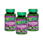 Kit 3 Resveratrol Uva Desidratada Unilife Revitrol 60 Cápsulas