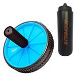 Kit Roda Exercícios Abdominal e Lombar - Exercise Wheel - Liveup Azul + Squeeze Automático 1lt