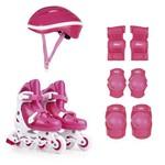 Kit Roller Rosa Tamanho M 34-37 (Roller, Joelheira e Capacete)