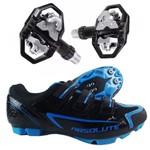 Kit Sapatilha Ciclismo Absolute MTB Nero Preto e AZUL + Pedal Wellgo M279