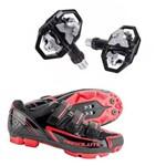 Kit Sapatilha Ciclismo Absolute MTB Nero PRETO/VERMELHO + Pedal Wellgo 279