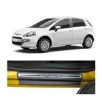 Kit Soleira Fiat Punto Premium Aço Escovado Resinado 2013 a 2015 4 Portas