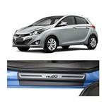 Kit Soleira Hyundai Hb20 Premium Aço Escovado Resinado 2012 a 2015 4