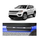 Kit Soleira Jeep Compass 4P Premium Aço Escovado Resinado