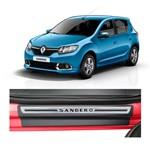 Kit Soleira Renault Sandero Premium Aço Escovado Resinado 2015 4 Portas