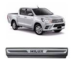 Kit Soleira Toyota Hilux Premium Aço Escovado Resinado 2016