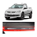 Kit Soleira Volkswagen Saveiro Premium Aço Escovado Resinado 2008 a 2012 2
