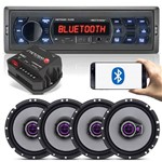 Kit Som Automotivo - 04 Falantes 6 Pioneer + Módulo + Radio Multilaser Bluetooth