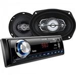 Kit Som Automotivo Radio Mp3 + 2 Alto Falantes 6 + 2 Alto Falantes 6x9 Au955 Preto Multilaser